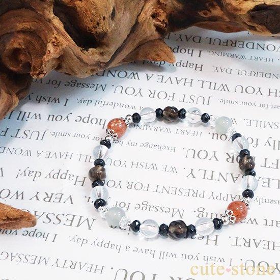【太陽と月の旅】サンストーン グレームーンストーン ブラックスピネル スモーキークォーツ 水晶 ブレスレットの写真4 cute stone
