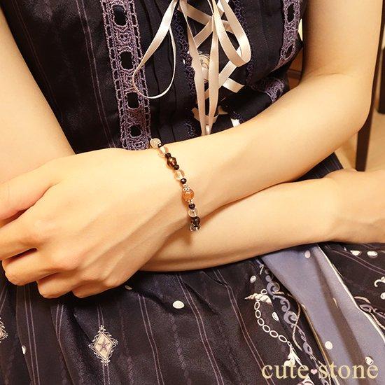 【太陽と月の旅】サンストーン グレームーンストーン ブラックスピネル スモーキークォーツ 水晶 ブレスレットの写真5 cute stone