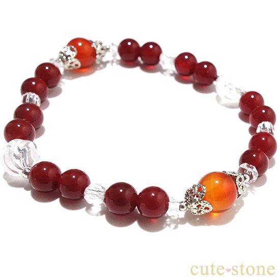 【情熱の炎】カーネリアン レッドアゲート 水晶 ブレスレットの写真1 cute stone
