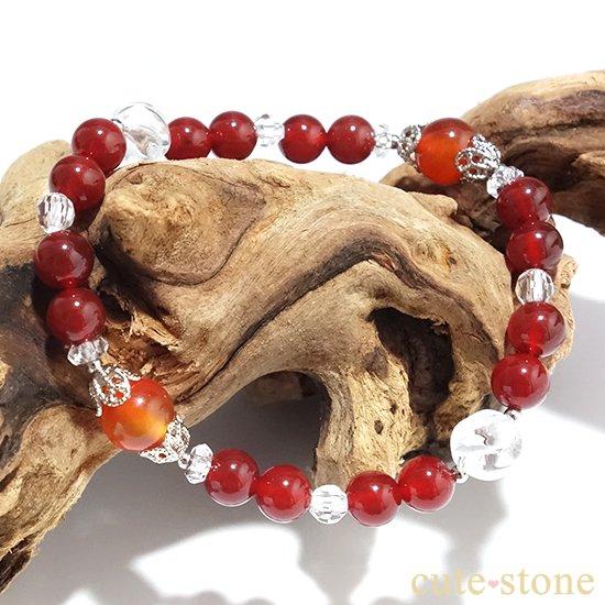 【情熱の炎】カーネリアン レッドアゲート 水晶 ブレスレットの写真4 cute stone