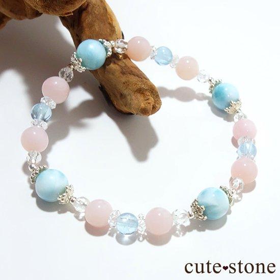 【beautiful sea】ラリマー ピンクオパール ブルートパーズ 水晶のブレスレット