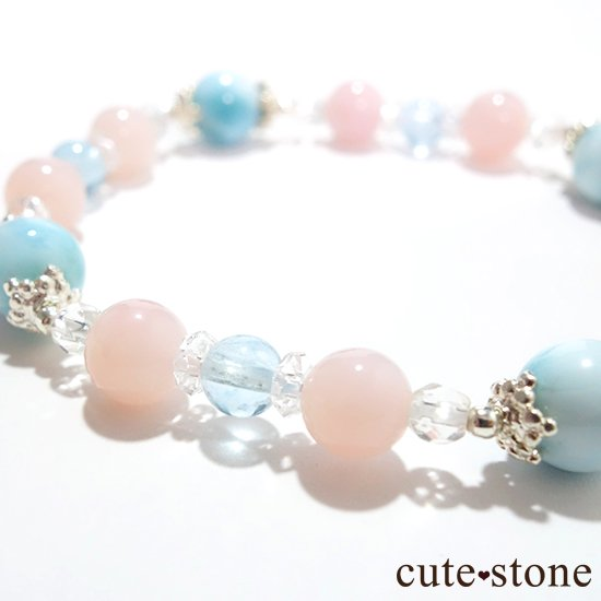 【beautiful sea】ラリマー ピンクオパール ブルートパーズ 水晶のブレスレットの写真1 cute stone