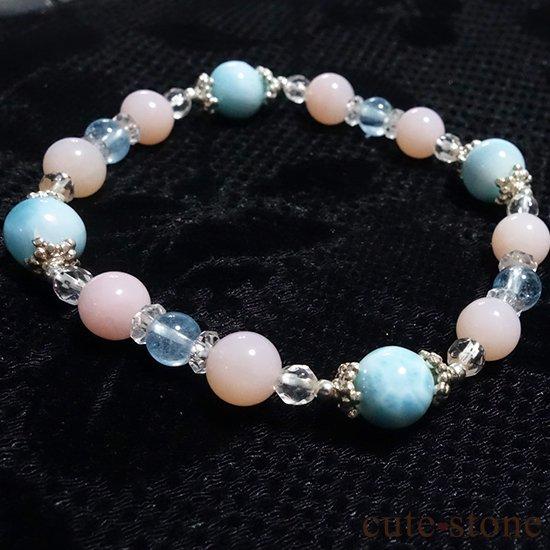 【beautiful sea】ラリマー ピンクオパール ブルートパーズ 水晶のブレスレットの写真4 cute stone