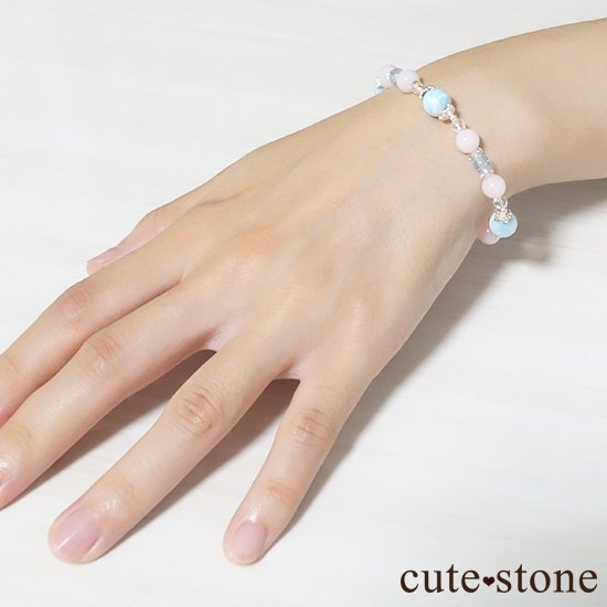 【beautiful sea】ラリマー ピンクオパール ブルートパーズ 水晶のブレスレットの写真6 cute stone