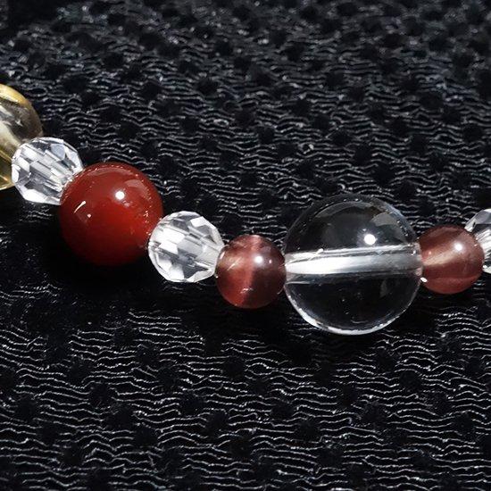 【Autumn  Festa】スモーキーエレスチャル レッドスキャポライト  レッドアゲート シトリン 水晶 のブレスレットの写真5 cute stone
