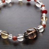 【Autumn  Festa】スモーキーエレスチャル レッドスキャポライト  レッドアゲート シトリン 水晶 のブレスレットの画像