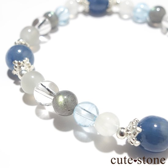 【ICE AGE】カイヤナイト ブルームーンストーン ブルートパーズ ラブラドライト アイスクリスタル グレームーンストーンのブレスレットの写真2 cute stone