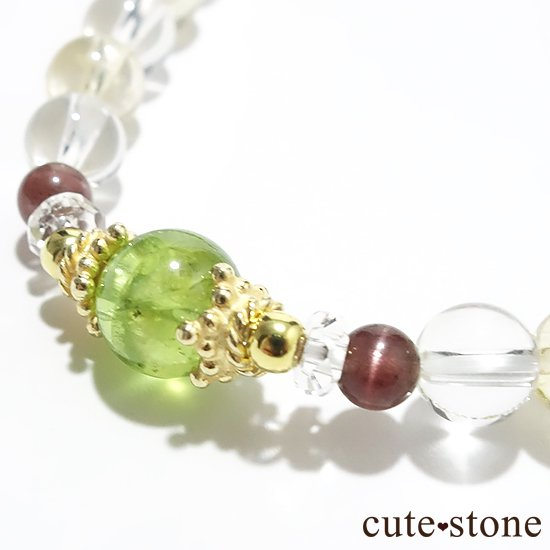 【シルフのお姫様】ペリドット レッドスキャポライト シトリン 水晶 のブレスレットの写真1 cute stone