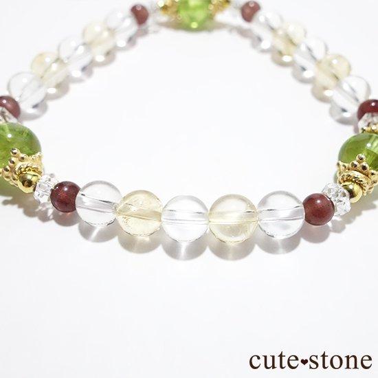 【シルフのお姫様】ペリドット レッドスキャポライト シトリン 水晶 のブレスレットの写真2 cute stone
