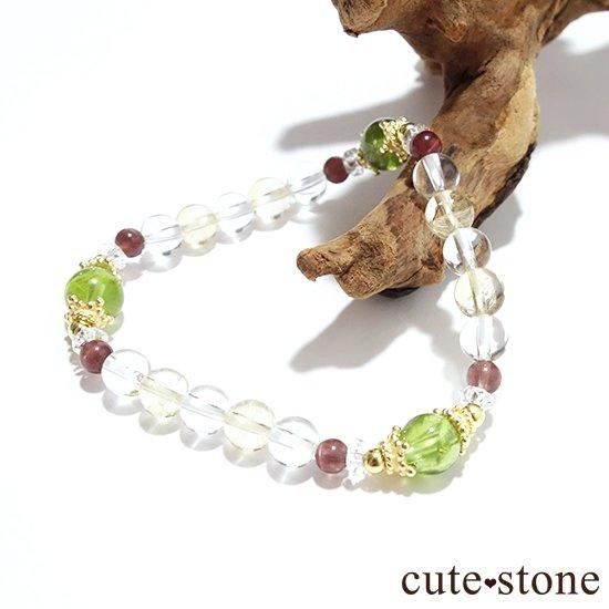 【シルフのお姫様】ペリドット レッドスキャポライト シトリン 水晶 のブレスレットの写真3 cute stone