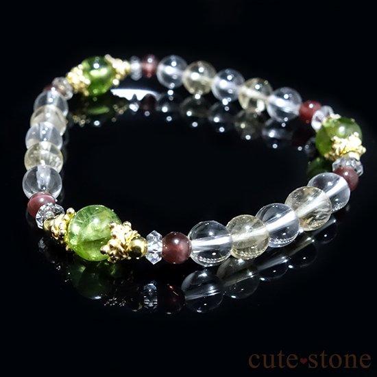 【シルフのお姫様】ペリドット レッドスキャポライト シトリン 水晶 のブレスレットの写真4 cute stone