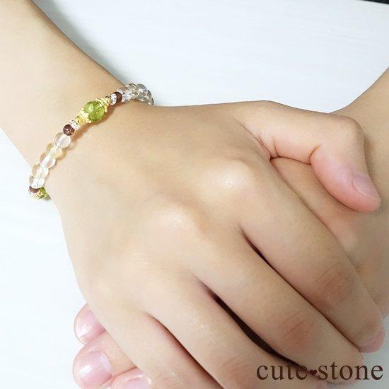 【シルフのお姫様】ペリドット レッドスキャポライト シトリン 水晶 のブレスレットの写真5 cute stone