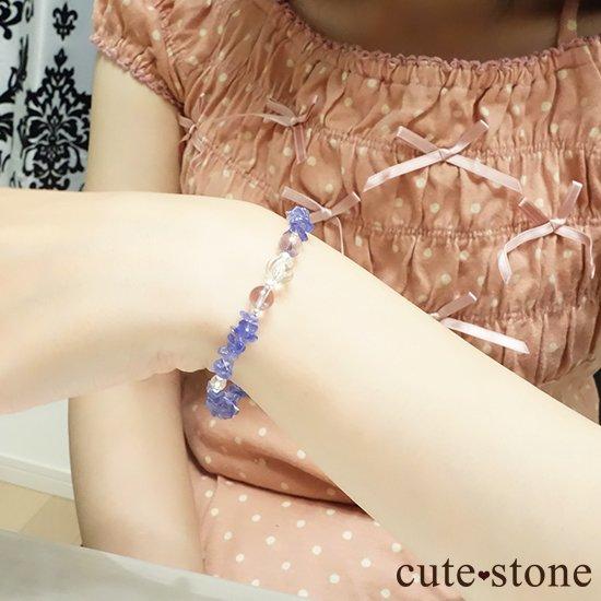 【タンザニアの空】タンザナイト バイカラーアメジスト 水晶のブレスレットの写真2 cute stone
