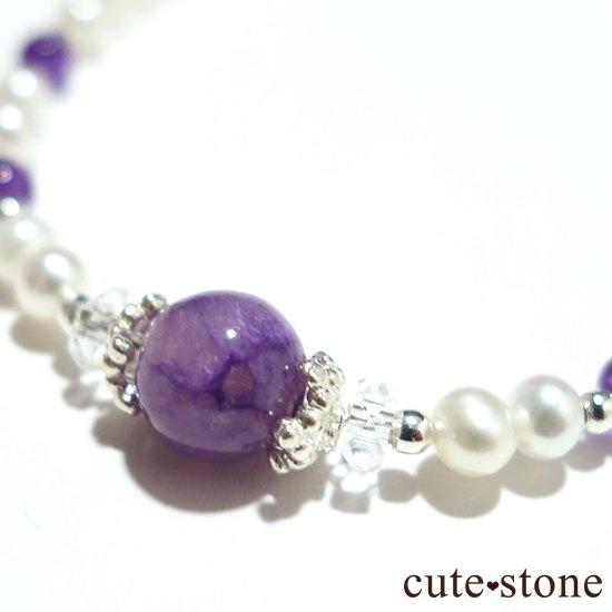 【天使の抱擁】エンジェルシリカ アメジスト 淡水真珠 水晶のブレスレットの写真2 cute stone