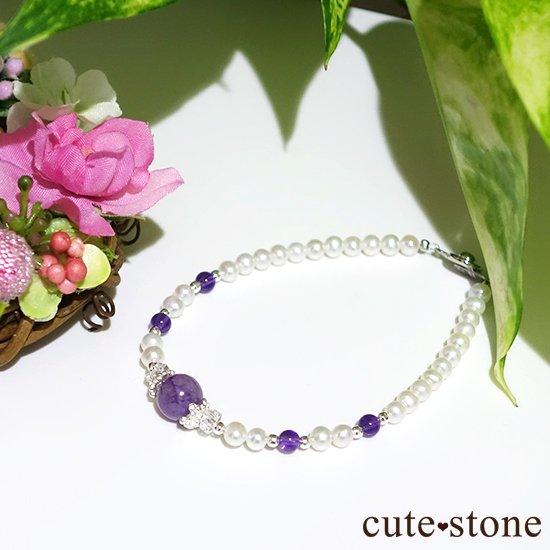 【天使の抱擁】エンジェルシリカ アメジスト 淡水真珠 水晶のブレスレットの写真4 cute stone
