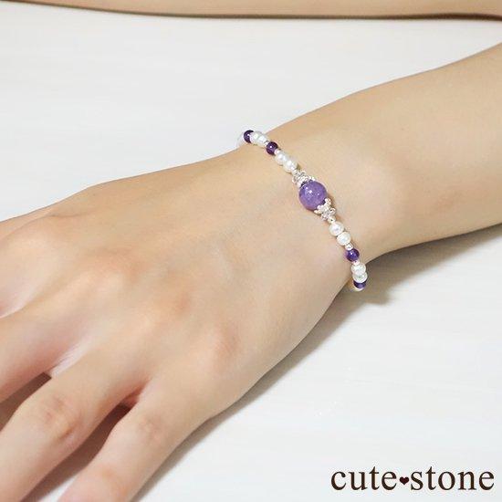 【天使の抱擁】エンジェルシリカ アメジスト 淡水真珠 水晶のブレスレットの写真5 cute stone