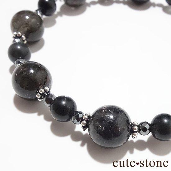 【Meteor shower】ブラックルチル ブラックスキャポライト ヘマタイトのブレスレットの写真0 cute stone