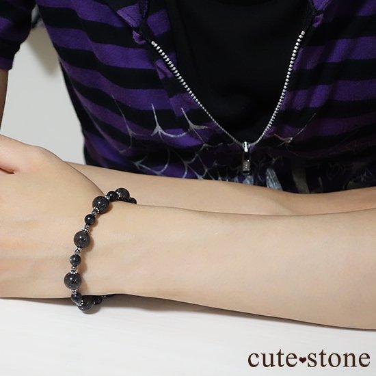 【Meteor shower】ブラックルチル ブラックスキャポライト ヘマタイトのブレスレットの写真4 cute stone