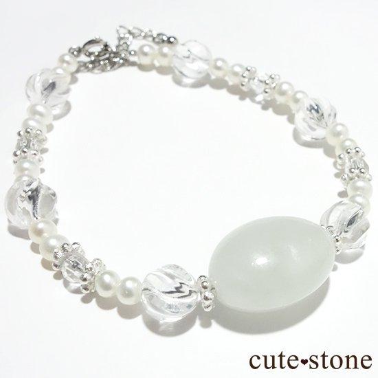 【白翡翠のお姫様】翡翠 水晶 淡水真珠 のブレスレット の写真0 cute stone