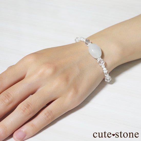 【白翡翠のお姫様】翡翠 水晶 淡水真珠 のブレスレット の写真2 cute stone