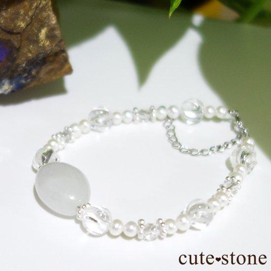 【白翡翠のお姫様】翡翠 水晶 淡水真珠 のブレスレット の写真4 cute stone