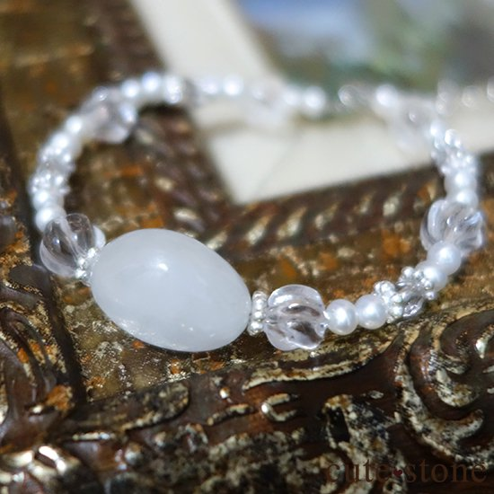 【白翡翠のお姫様】翡翠 水晶 淡水真珠 のブレスレット の写真5 cute stone