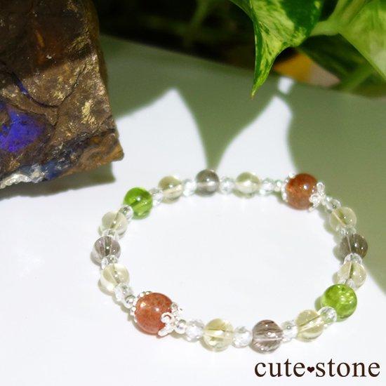 【ふたつの太陽】 サンストーン ペリドット エレスチャルクォーツ シトリン 水晶のブレスレットの写真0 cute stone