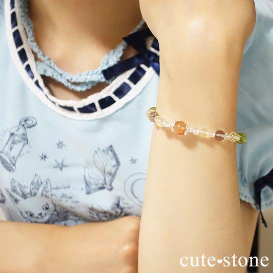 【ふたつの太陽】 サンストーン ペリドット エレスチャルクォーツ シトリン 水晶のブレスレットの写真4 cute stone