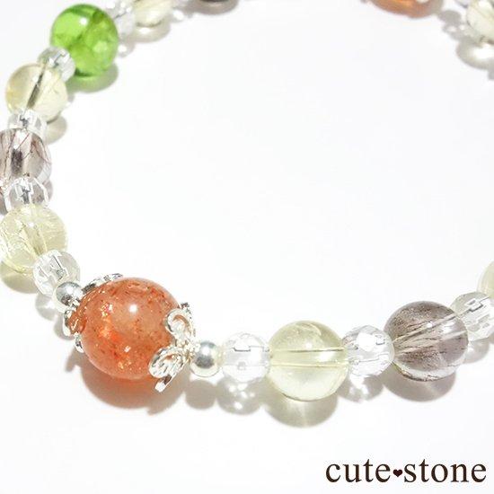 【ふたつの太陽】 サンストーン ペリドット エレスチャルクォーツ シトリン 水晶のブレスレットの写真5 cute stone