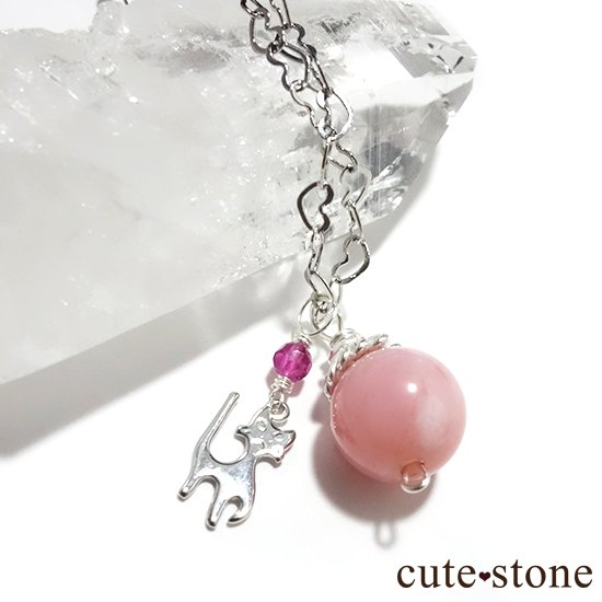 【Lovely Cat】ピンクオパール ピンクトルマリンと猫のハートネックレス