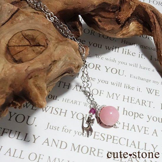 【Lovely Cat】ピンクオパール ピンクトルマリンと猫のハートネックレスの写真0 cute stone