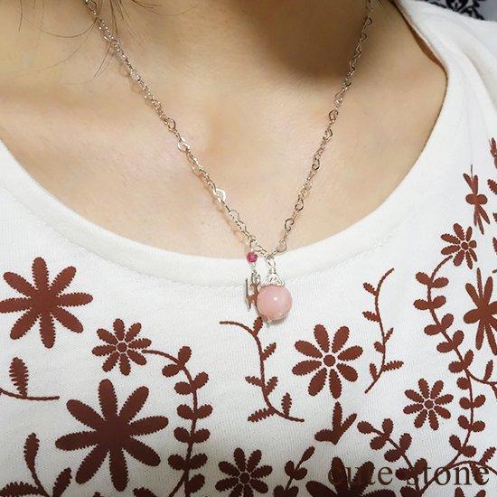 【Lovely Cat】ピンクオパール ピンクトルマリンと猫のハートネックレスの写真5 cute stone