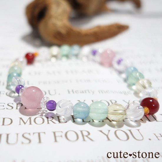 【虹色パレット】 ディープローズクォーツ 水晶 アメジスト ミルキークォーツ フローライト シトリン カーネリアン レッドアゲートのブレスレットの写真3 cute stone