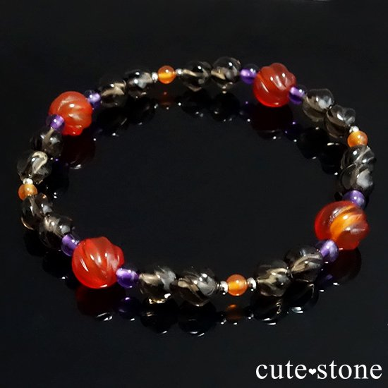 【Happy Halloween♪】 カーネリアン スモーキークォーツ アメジストのブレスレットの写真3 cute stone