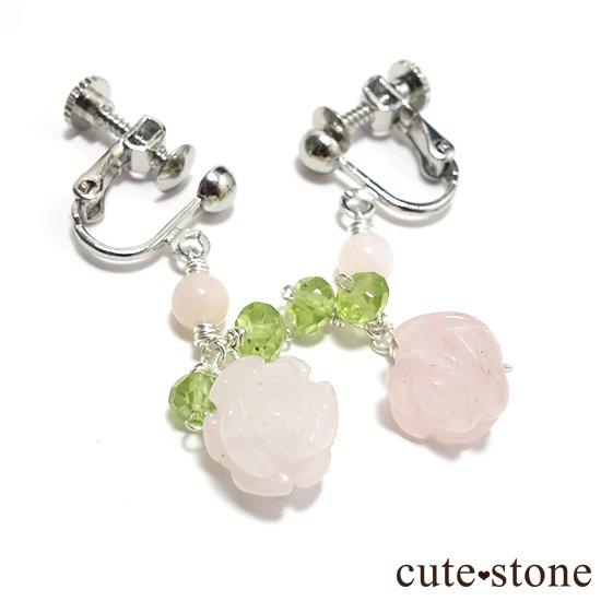【薔薇の耳飾り】ローズクォーツ ペリドット ピンクオパールを使ったピアス イヤリング