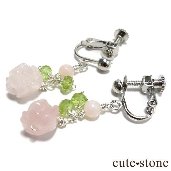 【薔薇の耳飾り】ローズクォーツ ペリドット ピンクオパールを使ったピアス イヤリングの写真0 cute stone