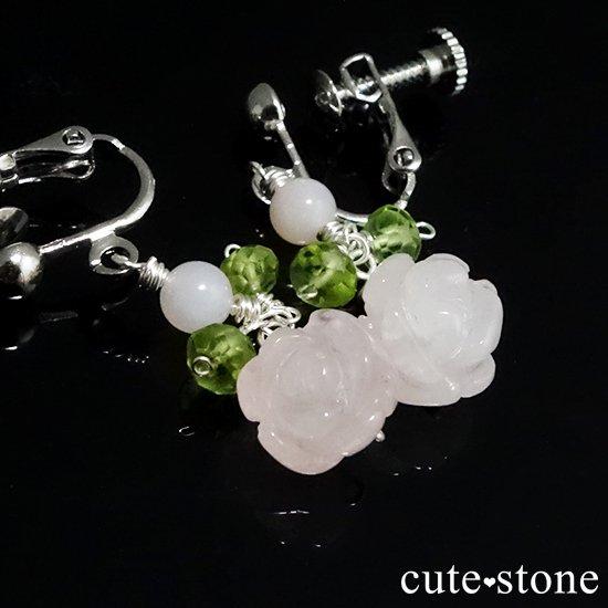 【薔薇の耳飾り】ローズクォーツ ペリドット ピンクオパールを使ったピアス イヤリングの写真3 cute stone