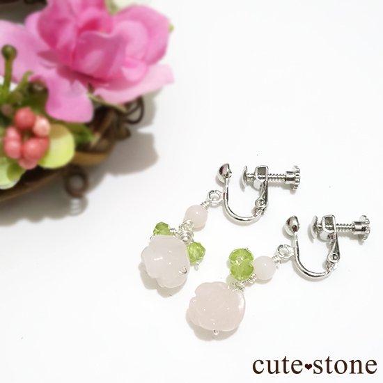 【薔薇の耳飾り】ローズクォーツ ペリドット ピンクオパールを使ったピアス イヤリングの写真4 cute stone