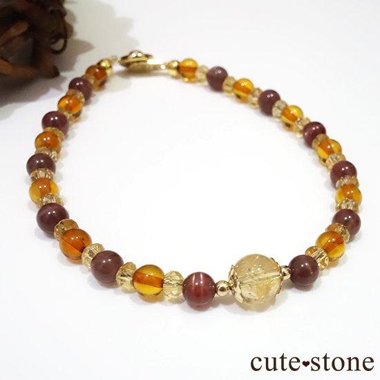 【Honey Ring】インペリアルトパーズ レッドスキャポライト シトリン バルティックアンバー のブレスレットの写真0 cute stone
