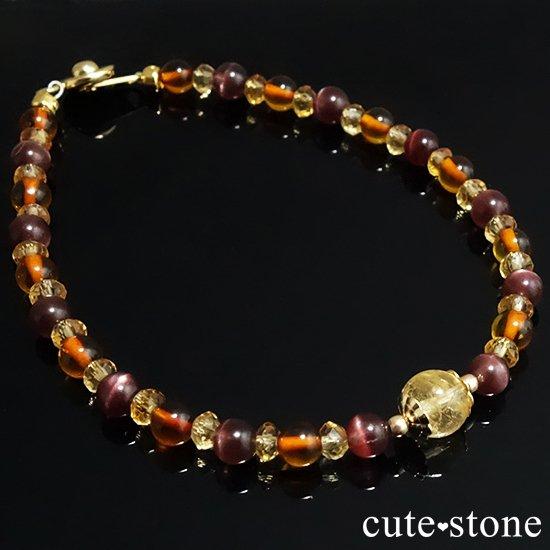 【Honey Ring】インペリアルトパーズ レッドスキャポライト シトリン バルティックアンバー のブレスレットの写真2 cute stone
