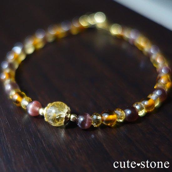 【Honey Ring】インペリアルトパーズ レッドスキャポライト シトリン バルティックアンバー のブレスレットの写真6 cute stone