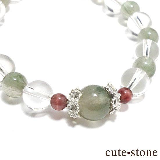 【風光明媚】 アクチノライトインクォーツ(グリーンルチル) レッドスキャポライト 水晶のブレスレットの写真0 cute stone