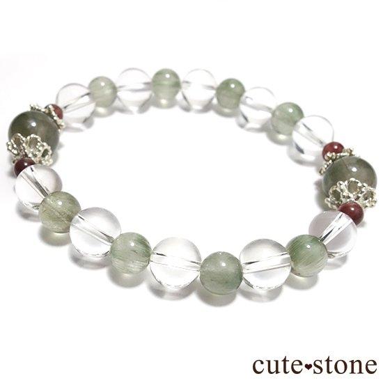 【風光明媚】 アクチノライトインクォーツ(グリーンルチル) レッドスキャポライト 水晶のブレスレットの写真1 cute stone