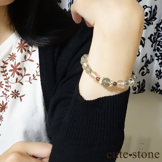【風光明媚】 アクチノライトインクォーツ(グリーンルチル) レッドスキャポライト 水晶のブレスレットの写真2 cute stone