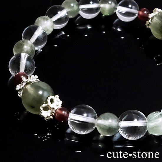 【風光明媚】 アクチノライトインクォーツ(グリーンルチル) レッドスキャポライト 水晶のブレスレットの写真3 cute stone