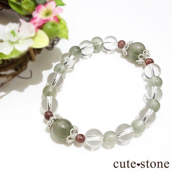 【風光明媚】 アクチノライトインクォーツ(グリーンルチル) レッドスキャポライト 水晶のブレスレットの写真4 cute stone