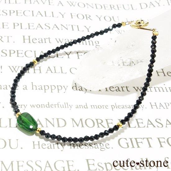【cool beauty】クロムダイオプサイト ブラックスピネルのブレスレットの写真2 cute stone