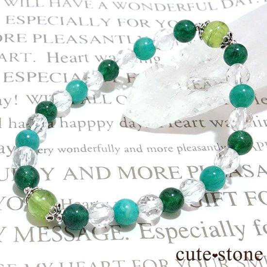 【Treasure of Dryad】ペリドット アマゾナイト グリーンアベンチュリン 水晶のブレスレットの写真1 cute stone