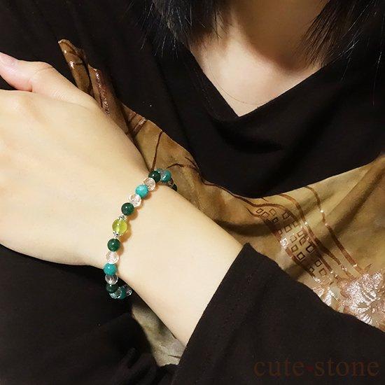 【Treasure of Dryad】ペリドット アマゾナイト グリーンアベンチュリン 水晶のブレスレットの写真2 cute stone