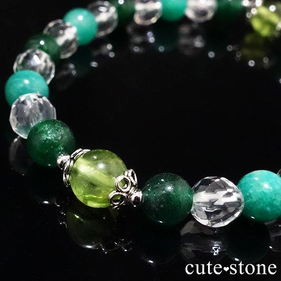 【Treasure of Dryad】ペリドット アマゾナイト グリーンアベンチュリン 水晶のブレスレットの写真3 cute stone